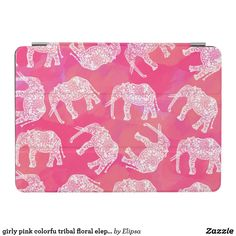 girly pink colorfu tribal floral elephant pattern iPad air cover