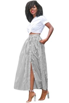 83ee791f96 Black White Stripes Button Front Maxi Skirt Long African Skirt, Korean  Fashion Casual, Style