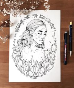 """""""wherever life plants you, bloom with grace"""" i finally finished the outlines 😱💛🌷soo happy with the result. Dark Drawings, Cool Drawings, Drawing Sketches, Girly Drawings, Black And White Drawing, Black White, Arte Sketchbook, Dibujos Cute, Pen Art"""