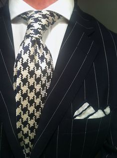 WIWT Navy Pinstripe Suit Blue Label by Ralph Lauren, White Shirt New Lingwoodand Houndstooth Pattern Tie Tom Ford