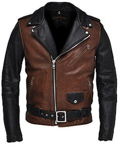 classic Perfecto jacket in two-tone. A classic 1930s style back and brown cowhide leather motorcycle jacket with quilt lining that has been aged for an authentic vintage look. Made in the USA.