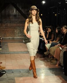 Dress, tall boot, hat