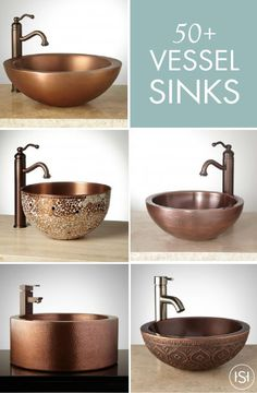 Add one of these stunning vessel sinks from Signature Hardware to your modern guest bath. From rich copper and bronze tones, to artistic details like mosaic, there's a sink to match every style and preference! Bathroom Sink Organization, Bathroom Sink Design, Vessel Sink Bathroom, Open Bathroom, Bathroom Closet, Small Bathrooms, Bathroom Vanities, Diy Organization, Home Interior