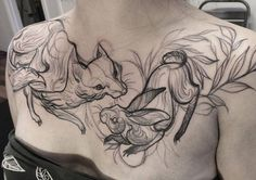Sketch Tattoos that look like pencil drawings. Drawings by Nom Chi
