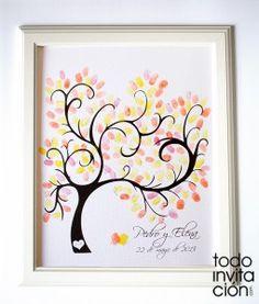 cuadro arbol huellas boda