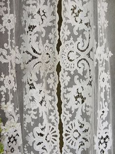 Vintageblessings Estate Tambour Antique Lace Curtains. For my closet.