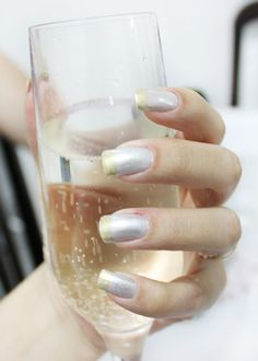 Ideas Wedding Nails Champagne French Manicures For 2019 Faded French Manicure, Glitter French Manicure, French Manicure Designs, French Manicures, Manicure Colors, Diy Manicure, Manicure Ideas, Silver Nail Polish, Accent Nail Designs