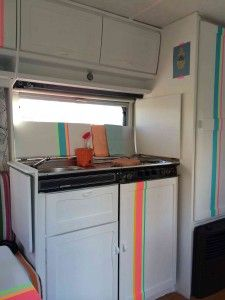 Kitchen in my happy caravan. Masking Tape works great!