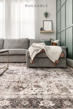 New Living Room, Home And Living, Living Room Decor, Living Spaces, Farmhouse Rugs, Washable Rugs, Living Room Inspiration, Living Room Designs, Basement