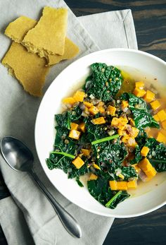 Simple Garlic & Greens Soup with Sweet Potatoes