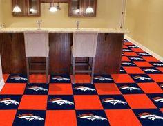 "Denver Broncos Carpet Floor Tiles 18"" X 18"" Modular Flooring 20 - Box"