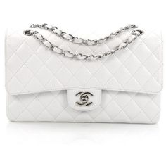 Pre-Owned Chanel Classic Double Flap Bag Quilted Caviar Medium (26,290 GTQ) ❤ liked on Polyvore featuring bags, handbags, white, quilted leather purse, real leather purses, chanel purse, white leather handbags and white leather purse