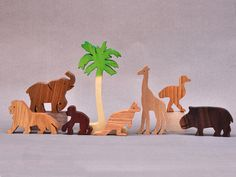 Zoo Animal Play Set Wooden Blocks Toys for Kids by ArksAndAnimals