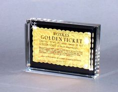 """Willy Wonka Golden Ticket Paperweight - Centerpiece.  This went hand in hand with my """"nerdy"""" centerpiece.  Everyone loved the golden ticket."""