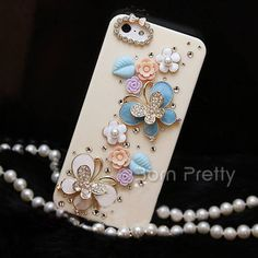 $8.88 Elegant Deluxe Butterfly Pattern Beige Hard Case Cover for iPhone 4/4S/5/5S/5C - BornPrettyStore.com