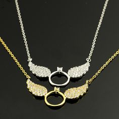 Rose Gold Plated Messengers CZ Angel Wing Statement Necklace Women 2017 New Vintage Jewelry Best Friends Tattoo Choker