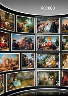 "MLD16907a Rococo (Jean François de Troy (1679–1752) ""Declaration of Love"", 1731; Jean-Honoré Fragonard (1732–1806) ""The Musical Contest"", 1754–55; Jean-Honoré Fragonard (1732–1806) ""The Shepherdess"", c. 1750-52; Antoine Watteau (1684–1721) ""The Love Lesson"", 1888)"
