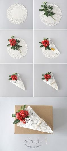 idées de carte Le Frufrù: Pacchetti regalo con centrini di carta e fiori: Paper Doily Crafts, Doilies Crafts, Paper Doilies, Diy And Crafts, Crafts For Kids, Arts And Crafts, Christmas Gift Wrapping, Christmas Crafts, Diy Y Manualidades