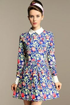 Floral Print Long Sleeve Dress OASAP.com