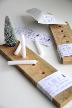 Adventskranz to go - aus einem Holzbrett
