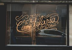 My maternal grandmother was named Candelaria. Candelaria in Paris Typography Love, Typography Letters, Design Café, Graphic Design, Tag Art, Design Package, Le Shop, Window Graphics, Signwriting