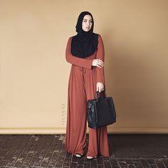 INAYAH | Tan #Jumpsuit + Black Jersey #Hijab www.inayahcollection.com