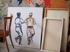 Dancing Cretans in acrylics by Elena