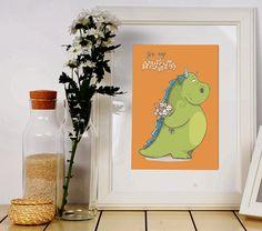 Cute dragon nursery. Green dragon print. Dragon art. Dragon card. Dragon birthday gift. Dragon printables. Orange green art. Princess gifts. Girls nursery print. Girls room print