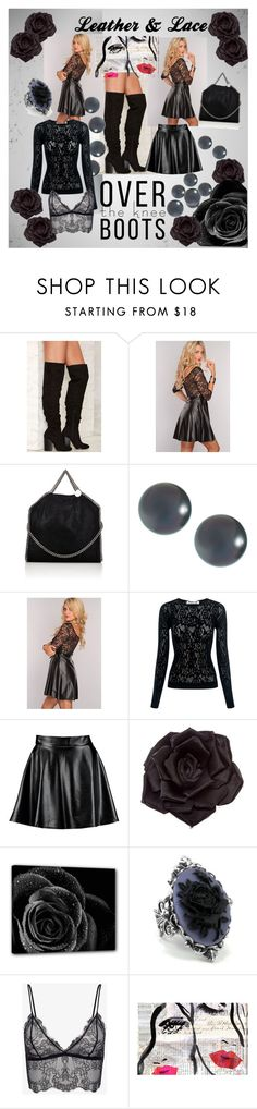 """""""Leather and lace"""" by shellyjolley ❤ liked on Polyvore featuring Nasty Gal, STELLA McCARTNEY, Belpearl, McQ by Alexander McQueen, Boohoo, Johnny Loves Rosie and Oliver Gal Artist Co."""