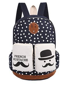 Fansela(TM) French Mustache Fashion Style Cute Designer High Quality Canvas Bag Backpack School Bags For Teen Girls (Black)