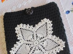 IPad tablet cover case black crochet handmade by divasvintage, $16.00
