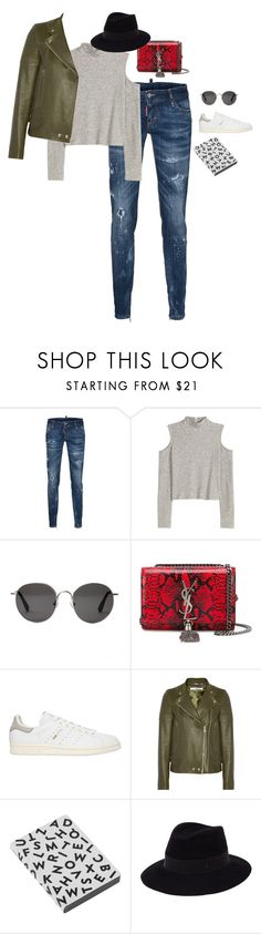 """messy"" by bareluxe ❤ liked on Polyvore featuring Dsquared2, H&M, The Row, Yves Saint Laurent, adidas Originals, Givenchy, Nuuna and Maison Michel"