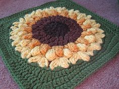 Ravelry: SunFlower Too pattern by Julie Yeager motif Crochet Flower Squares, Crochet Square Blanket, Crochet Squares Afghan, Crochet Sunflower, Crochet Blocks, Sunflower Pattern, Granny Square Crochet Pattern, Crochet Motif, Crochet Designs