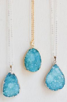 Aqua AGATE Druzy NECKLACE Bohemian. I saw this necklace at the Blue Lagoon in Iceland. I wish I would have bought it.