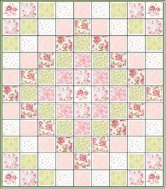 Trip Around the World Quilt Kit.  Roses..Roses...and More Pink Roses