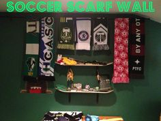 The Soccer Scarf Wall using nothing more than a leftover curtain rod.