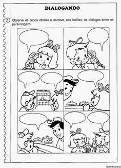 80 Atividades de Produção textual ou redação para o 4º Ano - Criação de texto e trabalho da escrita - ESPAÇO EDUCAR Teaching English Grammar, French Language Learning, Language Arts, Comic Strip Template, Comic Strips, Comic Book Writing, Comic Books, English Activities, Learning Activities