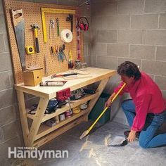 This simple wood work bench is perfect for a garage or utility room, and it takes up almost no floor space!