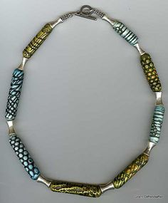 Textured Tube Bead Necklace   Polymer and sterling silver.   Flickr