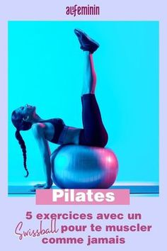 Swiss ball: fitball exercises with a swiss ball - Easy to do fitness exercises at home with a Swissball, a perfect routine for gaining weight and ther - Pilates Reformer, Pilates Workout, Pilates Yoga, Pop Pilates, Exercices Swiss Ball, Swiss Ball Exercises, Pilates For Beginners, Beginner Pilates, Beginner Workouts