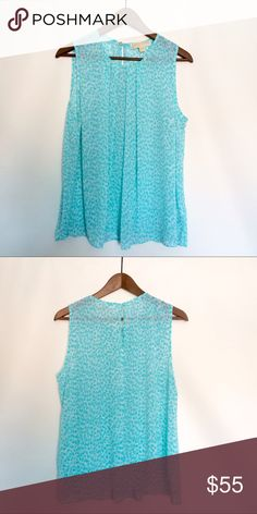 Michael Kors Blue Chiffon Tank Great blue tank for the summer timeless or for layering! Beautiful color and very comfortable. Like new condition! MICHAEL Michael Kors Tops Tank Tops
