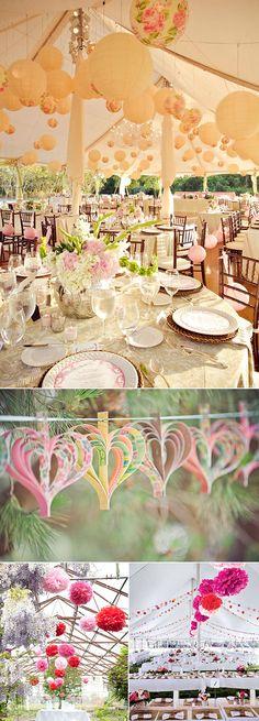 Decoraciones colgantes de papel para bodas