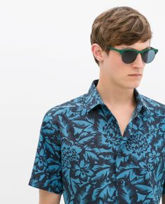 Zara Blue and Navy Printed Shirt | Men's Fashion | www.designerclothingfans.com