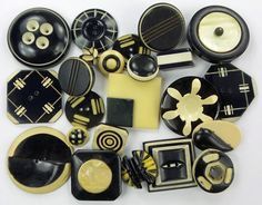 Vintage Buttons Lot Black & Cream/White Buttons Celluloid Casein Carved Laminate
