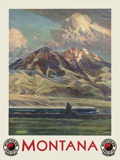 Vintage Montana Travel Poster - Old Northern Pacific Railroad Print - Retro Home…
