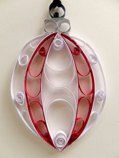 Quilled Paper Holiday Ornament - Red White Christmas Ornament