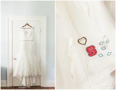 Wedding dress hanging on door at Poplar Grove Plantation in Wilmington, NC | NC State bride | www.storyandrhythm.com