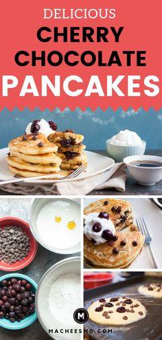 This from scratch pancakes recipe is a fun tw. This from scratch pancakes recipe is a fun twist on breakfast! Köstliche Desserts, Delicious Desserts, Yummy Food, Coconut Hot Chocolate, Chocolate Cherry, Pancakes From Scratch, Simply Recipes, Easy Recipes, Frozen Cherries