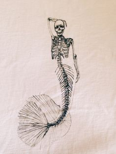 Mermaid Skeleton Sketch T by ArtByKristinaKoz on Etsy #exmermaid #summerdream