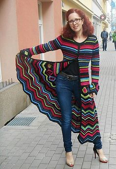 Coat Maxi Psychedelic pattern by Fashion Martina Brand new version of my design – crochet cardi Missoni Inspiration – at this time I made it in wonderful pure merino wool and in maxi long. Crochet Coat, Crochet Cardigan Pattern, Crochet Jacket, Easy Crochet Patterns, Crochet Shawl, Crochet Clothes, Ravelry Crochet, Crochet Sweaters, Moda Crochet